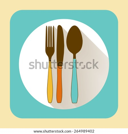 Kitchen ware tableware. Vector flat icon with long shadow - stock vector