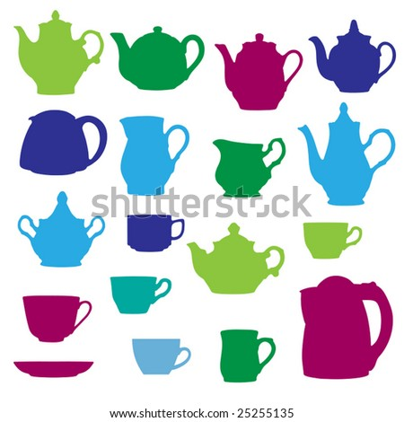 Kitchen wares objects silhouettes set. Vector illustration. - stock vector