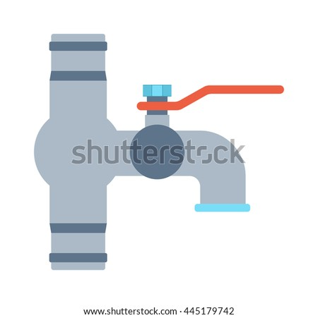 Kitchen water crane isolated on white background. Plumbing cold water crane shiny reflection crystal pure bathroom vector tool. Fashioned rich modern water crane dash current liquid equipment. - stock vector