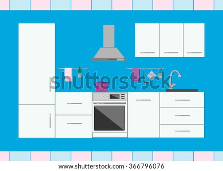 Kitchen white with furniture, sink, oven and refrigerator. House inside modern interior. Flat style vector illustration. - stock vector