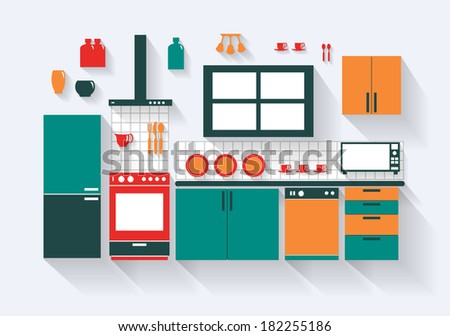 Kitchen with Fridge Stove Dishwasher and Fittings Long Shadows  - stock vector