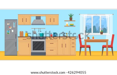 Kitchen With Furniture. Cozy Kitchen Interior With Table, Stove, Cupboard,  Dishes And