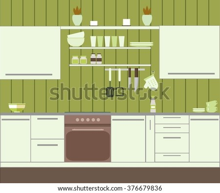 Kitchen with green wall