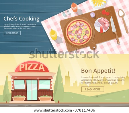 Kitchen worktop top view with utensils. Chopping board with knife and checked tablecloth. Pizza cooking at restaurant.  Pizza shop. Pizza Bakery. Pizza  Restaurant Vector flat illustration - stock vector