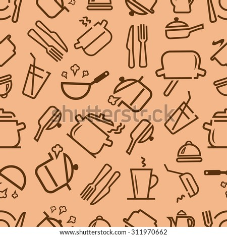 Kitchenware and cooking utensils colorful and fun doodle seamless pattern. Vector seamless background for your design. - stock vector