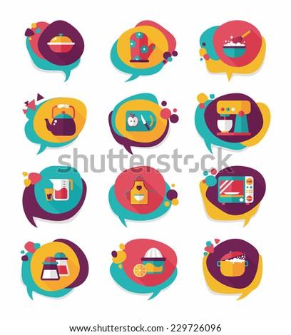 Kitchenware bubble speech flat banner design background set, eps10 - stock vector