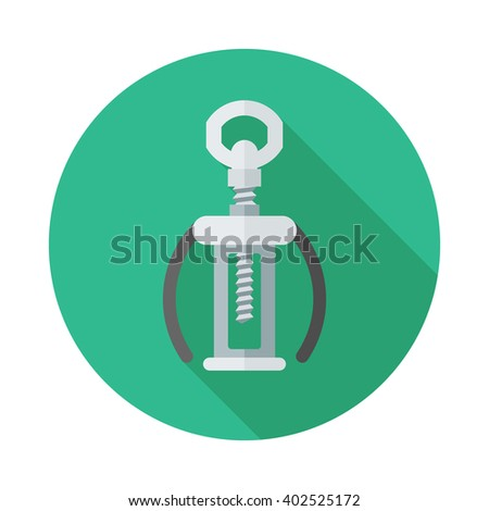 kitchenware corkscrew flat icon with long shadow. Automatic corkscrew illustration  - stock vector