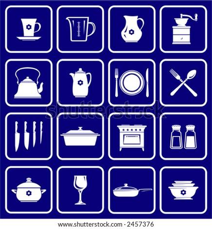 Kitchenware dishware kitchen Icons  - stock vector