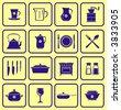 Kitchenware dishware kitchen items Icons  - stock vector