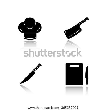 Restaurant Kitchenware kitchenware drop shadow black icons set stock vector 365337005