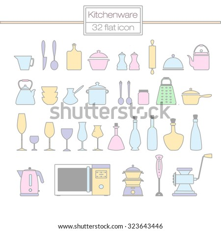 kitchenware flat line icons.Kitchen utensils and appliances - stock vector