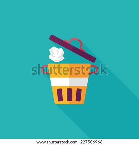 kitchenware garbage can flat icon with long shadow,eps10 - stock vector