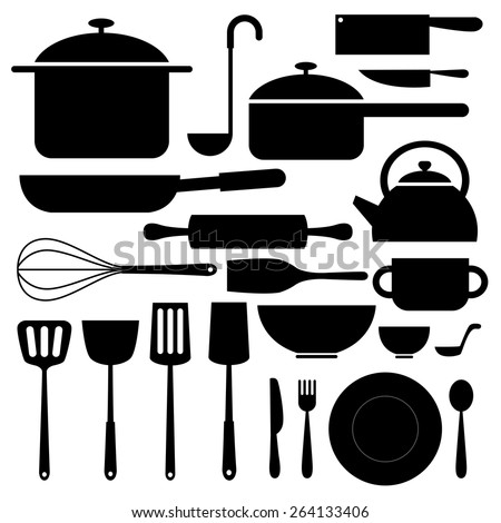 kitchenware icon in silhouettes can be used for info graphics graphic or website - stock vector