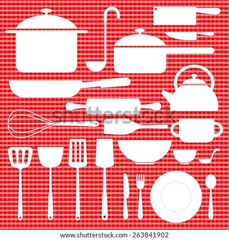 kitchenware icon in white color decoration on red table plaid - stock vector