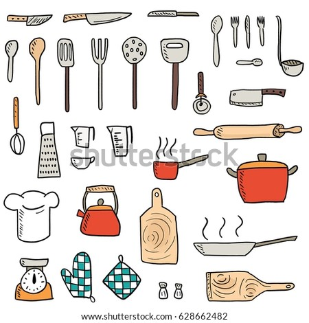 Kitchenware Icons Vector Set Cute Kitchen Utensils Doodle Hand Drawn Style