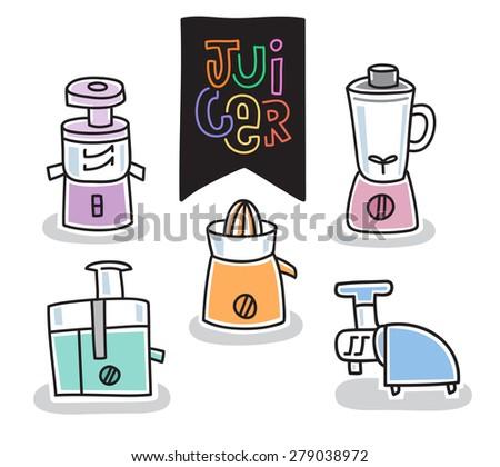 kitchenware juicer icon, outline stroke, illustration vector - stock vector