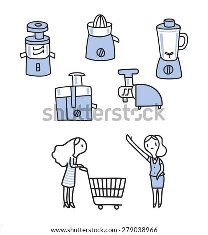 kitchenware juicer icon, shopping bye guide, outline stroke, illustration vector - stock vector
