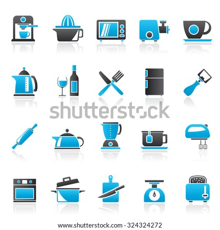 Kitchenware objects and equipment icons - vector icon set - stock vector