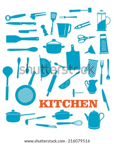 Kitchenware objects and icons set isolated on white background. For cooking, household and restaurant logo design - stock vector