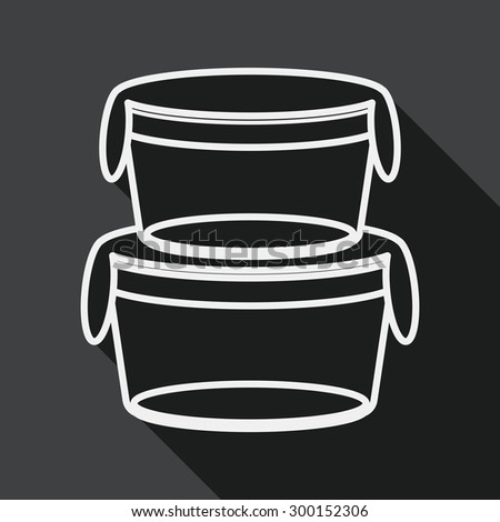 kitchenware preserving container flat icon with long shadow,eps1, line icon