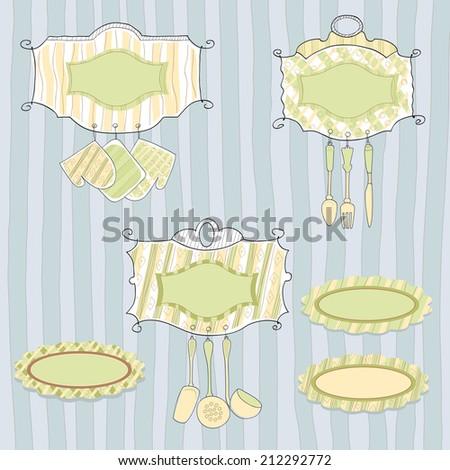 Kitchenware, set of vector elements - stock vector