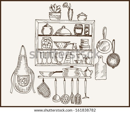 Kitchenware Set Of Vector Sketches