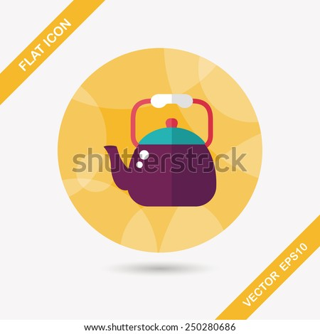 kitchenware tea pot flat icon with long shadow,eps10 - stock vector