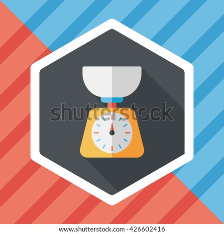 kitchenware weight scale flat icon with long shadow,eps10