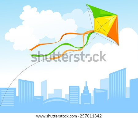 kite and city skyline. vector illustration