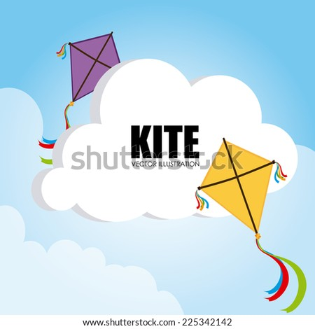 Kite design over cloudscape background, vector illustration