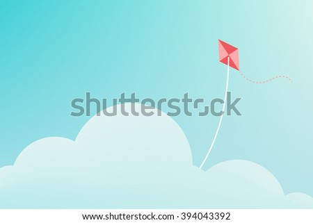 Kite flying over cloud minimalist background - stock vector