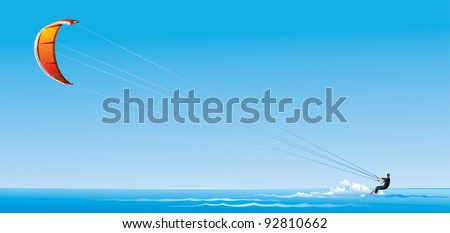 Kite surfing or Kite boarding, adventure surface water sport, combination of the wake boarding, windsurfing, surfing, paragliding, and gymnastics into one extreme sport - stock vector