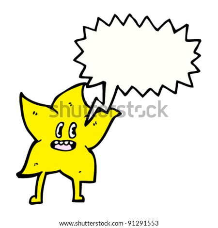 kitsch star cartoon character with speech bubble