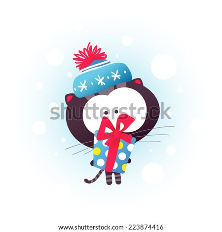 Kitten and Gift Box.  Christmas or New Year card. Vector illustration. - stock vector