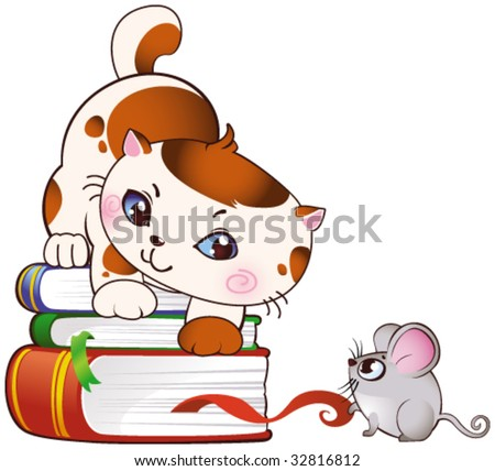 Kitten and mouse - stock vector
