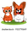 kitten and puppy sitting together on a green rug; adorable; - stock vector