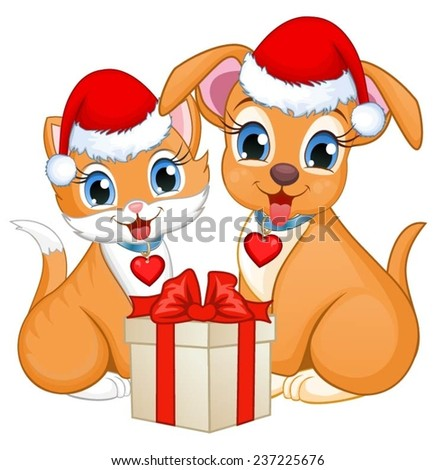 Kitten and puppy wearing Santa's hats sitting next to a present. - stock vector