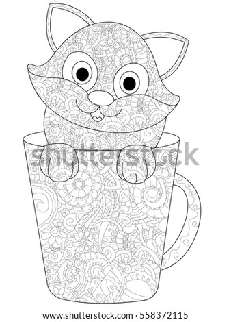 Kitten In A Cup Coloring Book For Adults Vector Illustration Anti Stress
