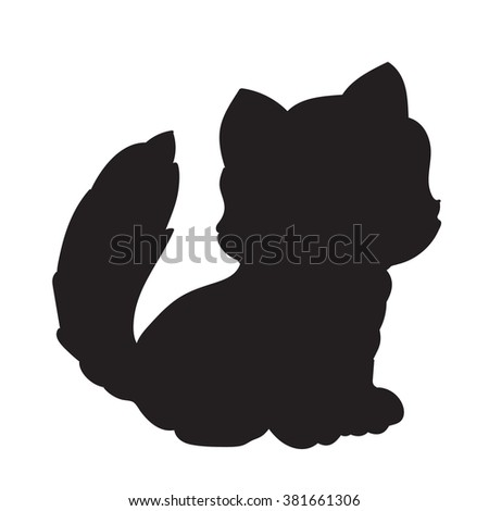 kitten isolated on white background silhouette