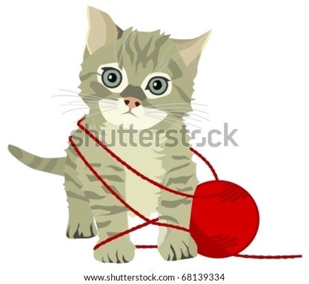 kitten playing with wool - stock vector