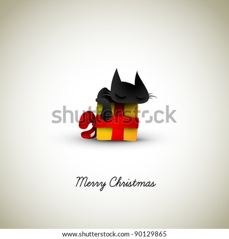 Kitten Sleeping on Christmas Gift Box    Great Greeting for Pet Owners   Layered EPS10 Vector Background - stock vector