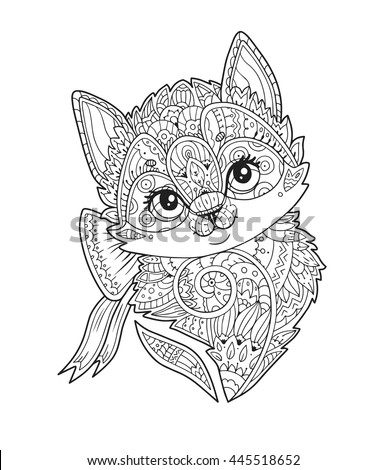 Kitten With Bow Portrait In Zentangle Style Vector Hand Drawn Sketch Little Cat