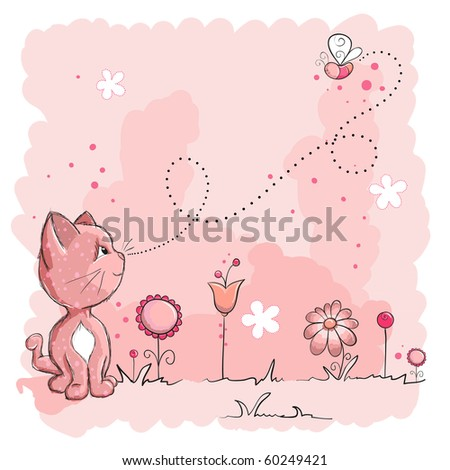 Kitty and butterfly - stock vector