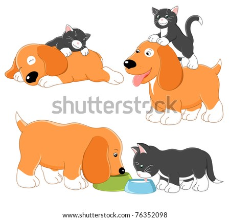 Kitty and puppy. Vector collection - stock vector