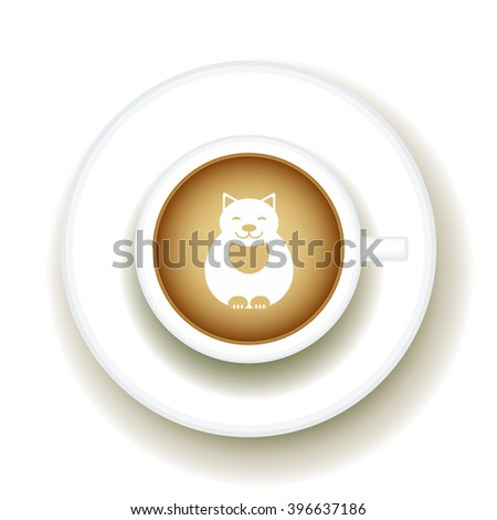 Kitty Coffee Latte art animal, Top view shape foam art of a cappuccino cup with saucer on white table background. Latte art drawing coffee cup with cute cat. Vector - stock vector