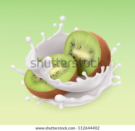 Kiwi fruit and milk splash. Fruit and yogurt. Realistic illustration. 3d vector icon