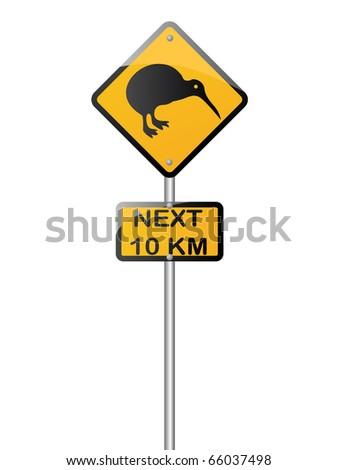kiwi road sign - stock vector