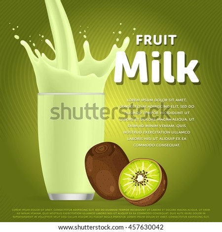 Kiwi sweet milkshake dessert cocktail glass fresh drink in cartoon vector illustration