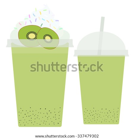 Kiwi Take-out smoothie transparent plastic cup with straw and whipped cream. Isolated on white background. Vector