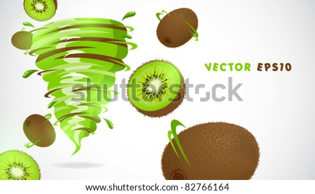 kiwi with juicy twister - stock vector